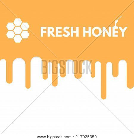 Honey melting down. Honeybees honey drip down. Golden and yellow color. Logo text on liquid. Abstract linear illustration.