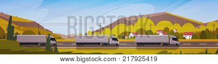 Horizontal Banner With LIne Of Cargo Truck Trailers Driving Road Over Mountains Landscape Vector Illustration