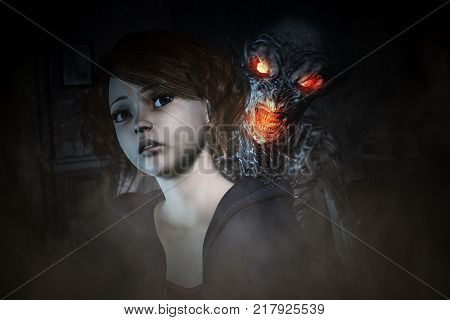 3d illustration,Girl is being panic of mythical creature from her nightmare