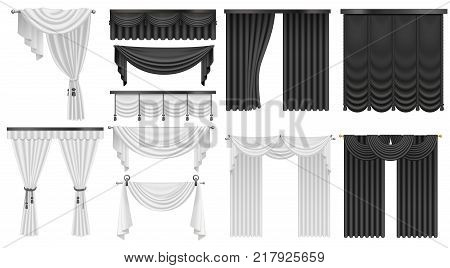 Black and white velvet silk curtains and draperies set. Interior realistic luxury curtains decoration design