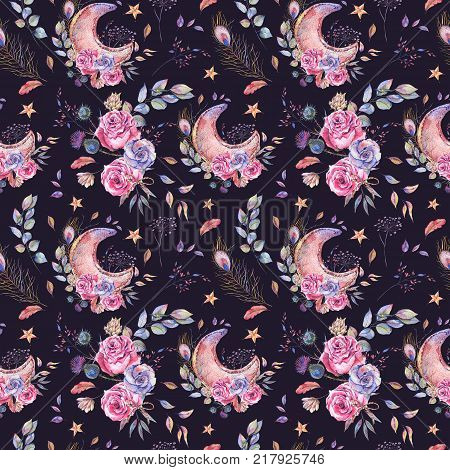 Watercolor Ramadan seamless pattern, moon, stars, roses and wild flowers, Ramadan Kareem natural decoration on black background.