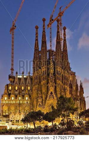 BARCELONA SPAIN - August 24 2012: La Sagrada Familia - cathedral designed by Antoni Gaudi landmark in Barcelona Catalonia Spain which is being build since 1882 and is not finished.