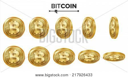 Bitcoin 3D Gold Coins Vector Set. Realistic. Flip Different Angles. Digital Currency Money. Cryptography Finance Coin Icons, Sign. Currency Isolated