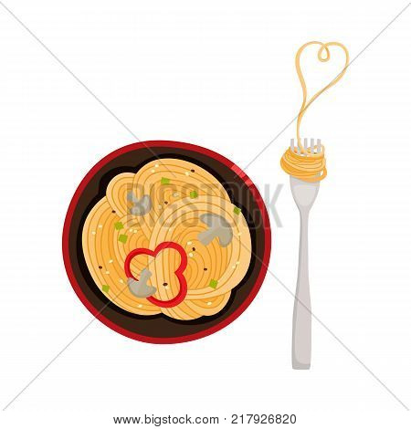 vector flat asian wok udon noodles with sliced pepper, mushrooms in ceramic pot with fork top view. Stir fry eastern fastfood icon for menu design. Isolated illustration on white background