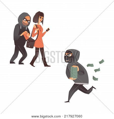 vector cartoon thief scenes set. Man burglar in hood pickpocket stealing wallet from the handbag of beautiful woman robber in mask running holding pile of stolen money banknotes. Isolated illustration