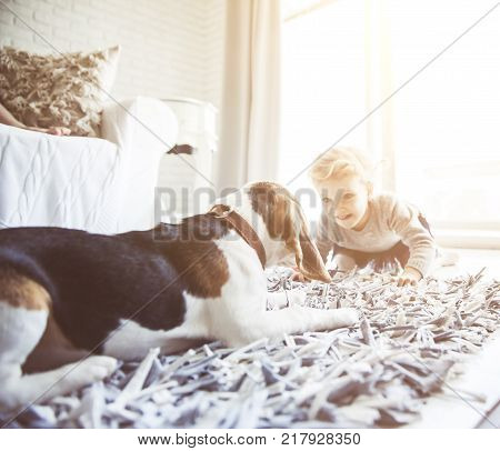 pretty little girl playing with her pet dog on the living room floor