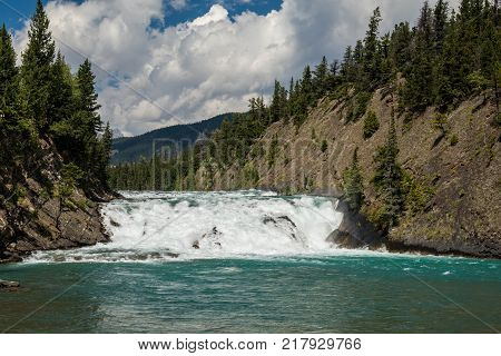 Zoom view of Bow Fall Bow River Banff National Park Alberta Canada
