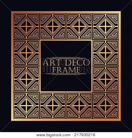 Vintage Retro Frame In Art Deco Style. Template For Design. Vector Illustration.