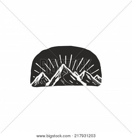 mountain symbol badge. Monochrome design. Vintage hand drawn outdoor adventure style. Stock vector isolated on white background.