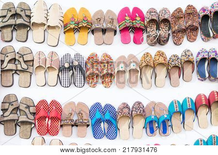 Colorful shoes - handicraft on display during the Handicraft Fair in Kolkata - the biggest handicrafts fair in Asia.