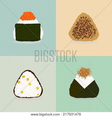 Four types of onigiri. Sticky rice balls. Japanese cuisine. Illustration. Lunch. Topped with salmon roe. Fried with soy sauce. Sweet corn. Topped with small fry fish. Can be used as seamless pattern.