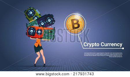 Woman Holding Microchips Crypto Currency Concept Digital Modern Web Bitcoins Over Blue Background Vector Illustration poster