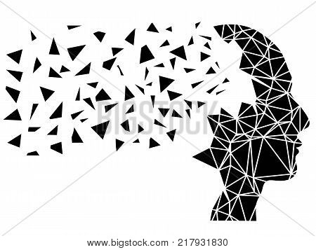 isolated Human head shattering background from white background