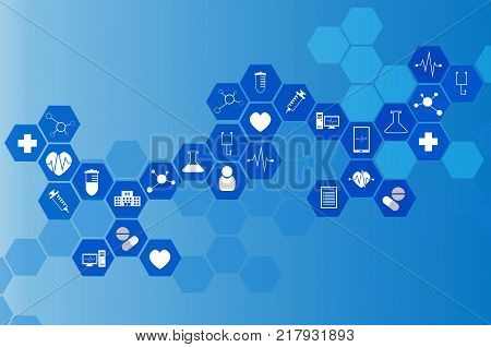 medical icon in hexagonal shaped pattern background science health care and medical technology concept blue color tone