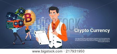 Crypto Currency Banner Man And Woman Holding Microchip Bitcoin Digital Crypto Money Over World Map Background Vector Illustration