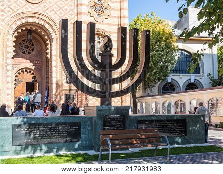 Bucharest Romania October 10 2017 : The Menorah standing at the entrance to the synagogue Coral in Bucharest city in Romania