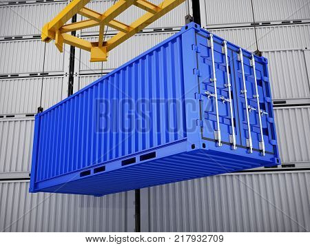 Loading blue cargo container box. 3d illustration
