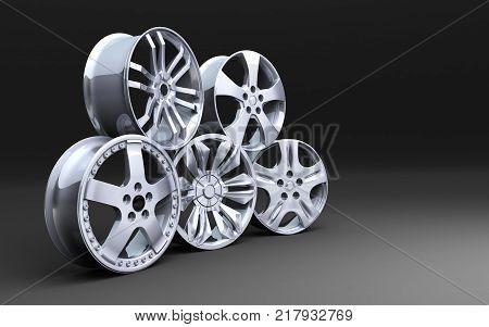 Five car disk on a black background. 3d illustration