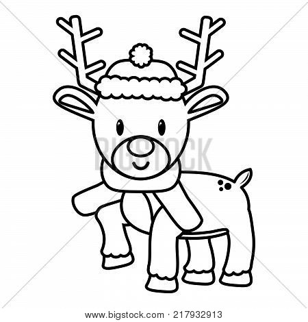 Vector Cartoon Cute Reindeer Isolated