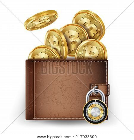 Bitcoin Wallet Vector. Abstract Technology Bitcoin. Cryptography Finance Coin Icons. Locked With Combination Lock. Modern Finance Secure Concept. Isolated Illustration