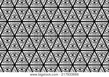 All Seeing Eye of God - black and white - vector pattern , Mason symbols , Eye of Providence