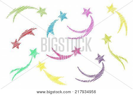 Set falling multi colored knitted stars. Shooting stars isolated white background. Icons embroidery of meteorites and comets. Vector illustration