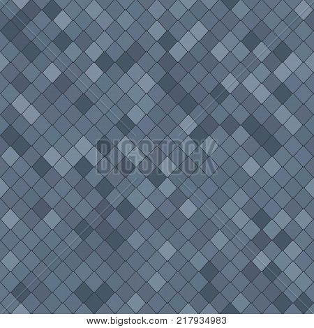Stylised shingles. Abstract seamless pattern. Shades of gray. Random rhomb texture. For decoration wallpaper web-page background.