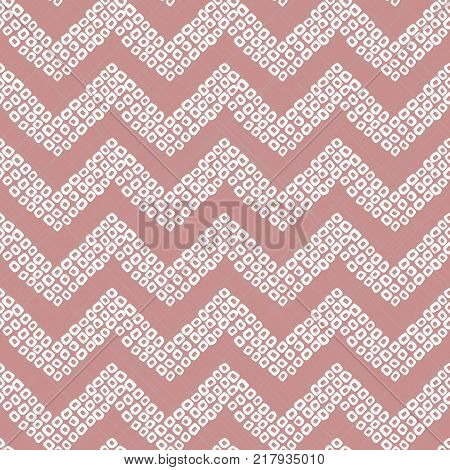 Shibori motif. Pink colored seamless pattern. Stylised asian ornament. Classic japanese dyeing technique. Simple background for decoration or printing on fabric.