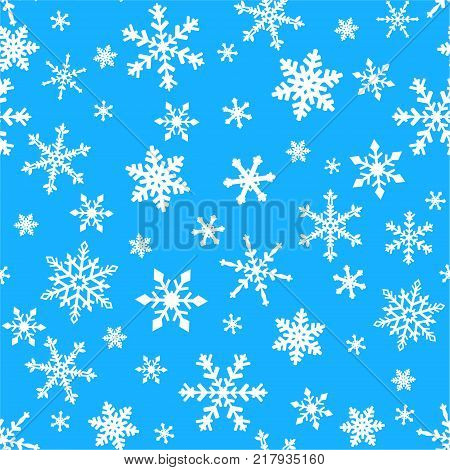 seamless ornament with snowflakes on a blue background
