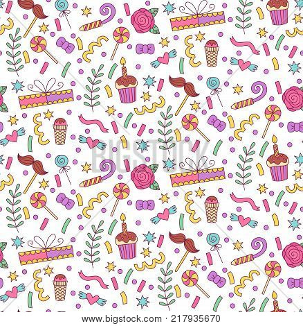 Party birthday celebration colorful doodle seamless vector pattern