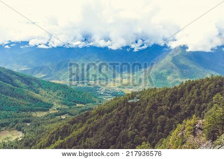 Aerial view of Paro valley from afar under a cloudy sky Bhutan Asia