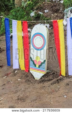 Traditional archers target board in Paro Bhutan Asia