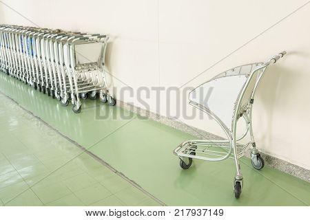 Aluminium alloy trolley cart at the airport