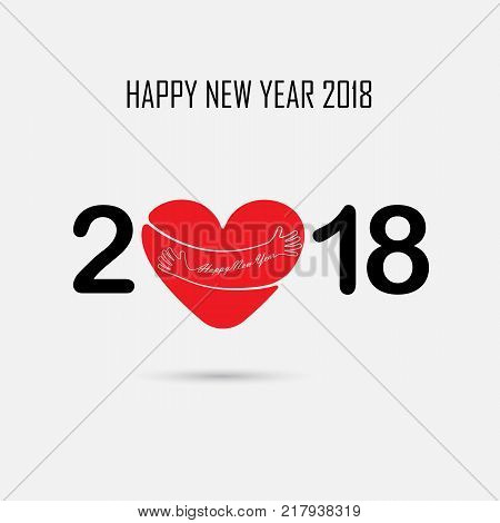 2, 0, 1, 8 and hand sign with holiday background concept.Red Heart sign and Happy New Year Typographical Design Elements.Happy new year 2018 holiday background.2018 Happy New Year greeting card.Vector illustration