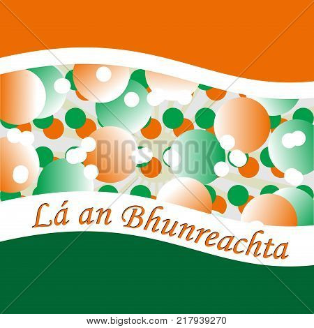 Constitution Day of Ireland with green and orange circles
