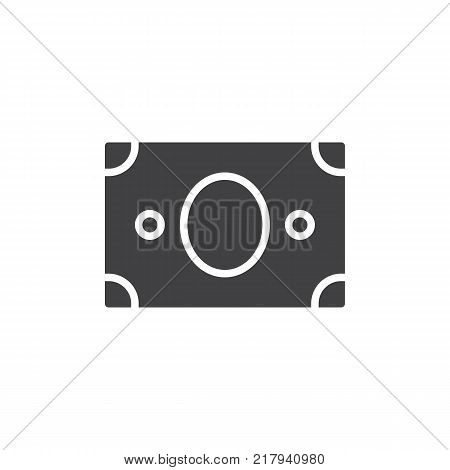 Paper money icon vector, filled flat sign, solid pictogram isolated on white. US banknotes dollars symbol, logo illustration.