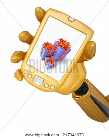 Gold 3d robotic hand hold a gold pda with gift boxes. Including clipping path