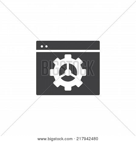 Website with setting cogwheel icon vector, filled flat sign, solid pictogram isolated on white. Computer network settings symbol, logo illustration.