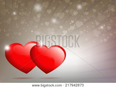 Beige, light background with rays of light and two red hearts with brilliance