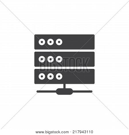 Computer server icon vector, filled flat sign, solid pictogram isolated on white. Database symbol, logo illustration.