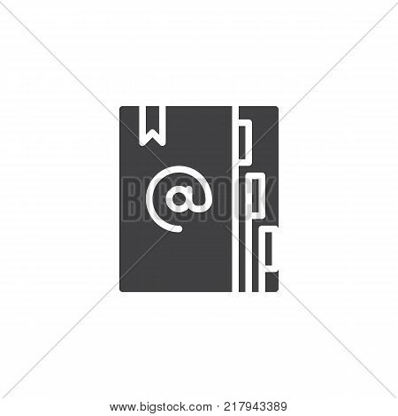 Agenda icon vector, filled flat sign, solid pictogram isolated on white. Address book with bookmark symbol, logo illustration.