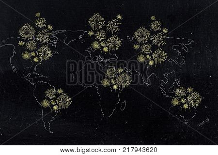 wolrld map covered with fireworks in all continents concep of new year's eve celebrations