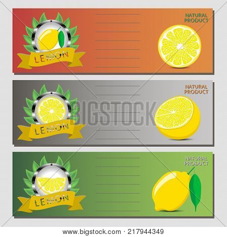 Abstract vector icon illustration logo for whole ripe citrus fruit yellow lemon slice half. Lemon pattern consisting of card label natural design citruses food. Eat sweet fresh fruits Citrus lemons.