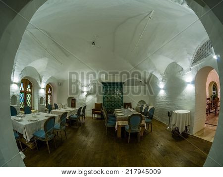 MOSCOW RUSSIA - MAY 31 2017: Russian ethnic flavour hall in restaurant Aragvi in Moscow Russia on May 31 2017. Restaurant was founded in 1930 by USSR NKVD minister Lavrentiy Beria.