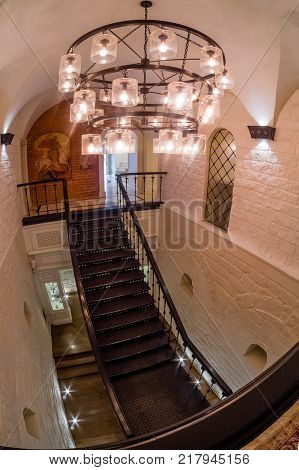 MOSCOW RUSSIA - MAY 31 2017: Stairway leading down to a downstairs of restaurant Aragvi in Moscow Russia on May 31 2017. Restaurant was founded by USSR NKVD minister Lavrentiy Beria.