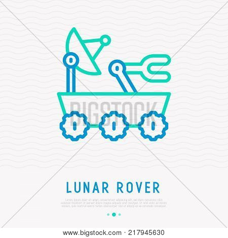 Lunar rover with satellite thin line icon. Modern vector illustration of space transport.