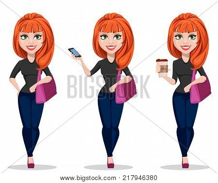 Stylish girl in casual clothes. Beautiful business woman in free style clothes holding handbag smartphone and coffee. Set. Cute cartoon character businesswoman. Vector illustration.