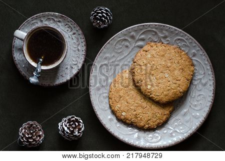 Oatmeal Cookies And A Cup Of Coffee