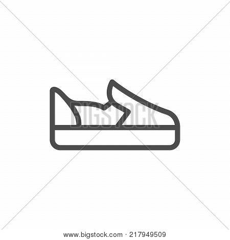 Slip-on shoe line icon isolated on white. Vector illustration