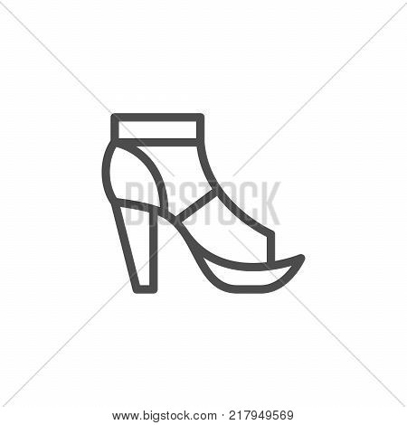 T-strap shoe line icon isolated on white. Vector illustration
